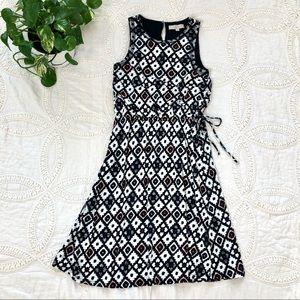 LOFT Black & White Print Sleeveless Midi Dress